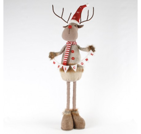 Figurine Renne de Noël WELCOME Téléscopique 93cm. - Décoration de Noël  - Lecomptoirdesauthentics