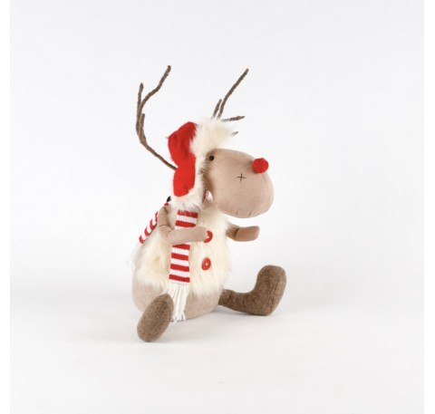 Figurine Renne de Noël Assis avec Veste Fourrure 30cm.
