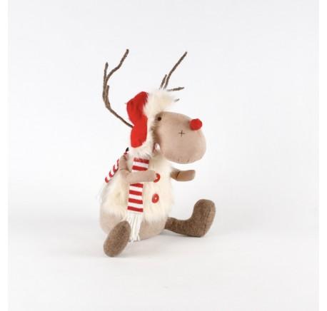 Figurine Renne de Noël Assis avec Veste Fourrure 30cm. - Décoration de Noël  - Lecomptoirdesauthentics