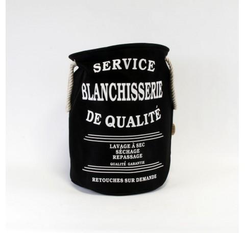 """Panier à linge noir rond """"Service blanchisserie de qualité"""""""