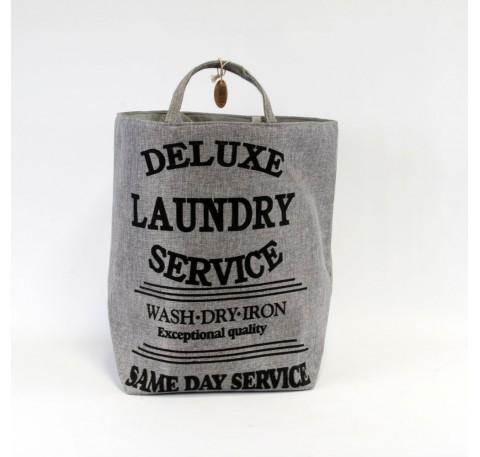 """Panier à linge gris trapèze """"Deluxe laundry service"""""""