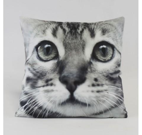 Coussin tête de chat tigré