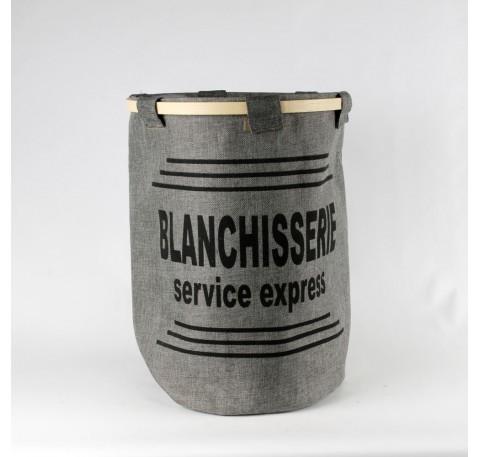 """Panier à linge """"blanchisserie service express"""" gris cylindrique"""