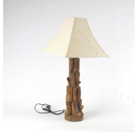 LAMPE Bois Teck massif Abat Jour Collection AKARA