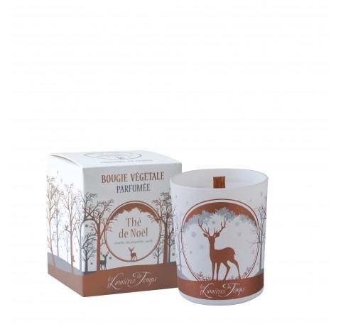 Bougie Thé de Noël - LES LUMIERES DU TEMPS Forêt Enneigée 180g (mèche bois)