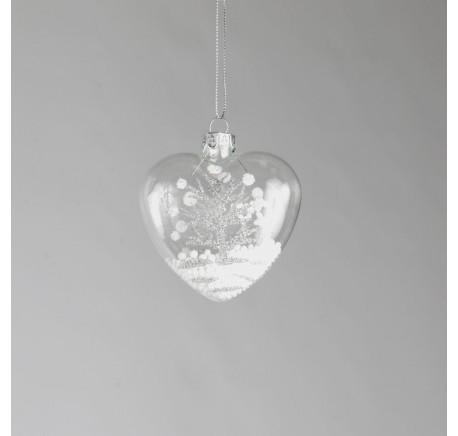 Coeur en verre avec flocon et sapin pailleté - Décoration de Noël  - Lecomptoirdesauthentics