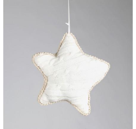 Etoile en tricot NOEL. - Décoration de Noël  - Lecomptoirdesauthentics