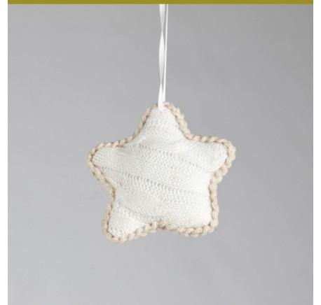 Etoile en tricot NOEL 10cm à suspendre - Décoration de Noël  - Lecomptoirdesauthentics