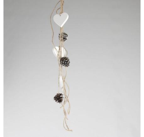 Suspension 3 coeurs bois blanc et 3 pommes pins - Décoration de Noël  - Lecomptoirdesauthentics