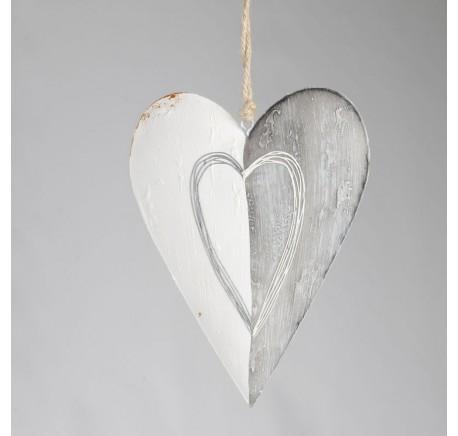Coeur CHALET Gris Blanc 26 cm. - Décoration de Noël  - Lecomptoirdesauthentics