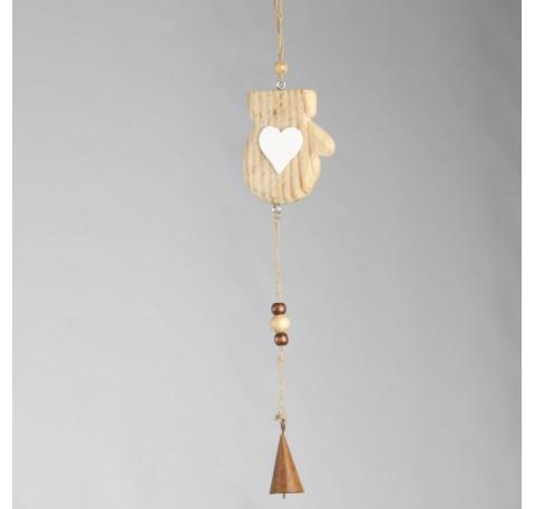 Décoration Mouffle bois naturel  avec clochette à suspendre 34cm
