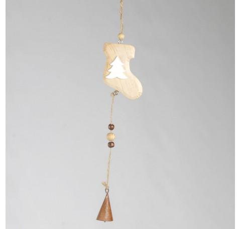 Suspente Botte bois naturel  avec clochette 34cm