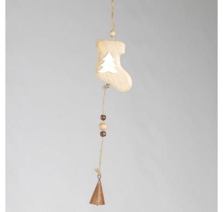 Décoration Botte en bois naturel  avec clochette à suspendre 34cm - Décoration de Noël  - Lecomptoirdesauthentics