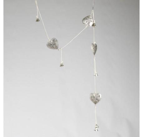 Guirlande Coeur Métal Motif Flocon avec clochette - Décoration de Noël  - Lecomptoirdesauthentics