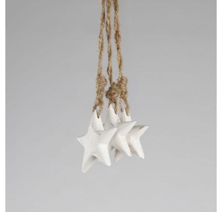 Décoration Etoile Blanche sur corde à suspendre - Décoration de Noël  - Lecomptoirdesauthentics