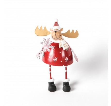 Cerf en métal rouge Haut.14cm - Décoration de Noël  - Lecomptoirdesauthentics
