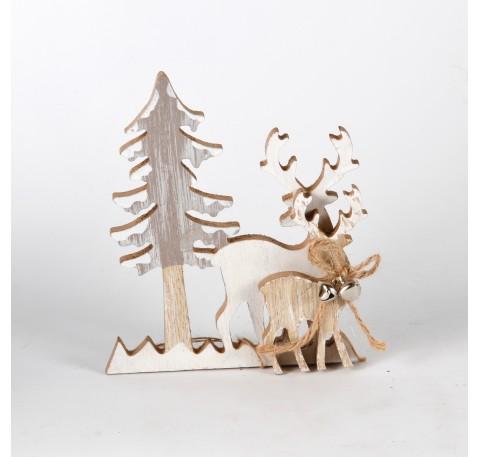 Sapin et 2 cerfs décoration en bois à poser Haut.15 cm
