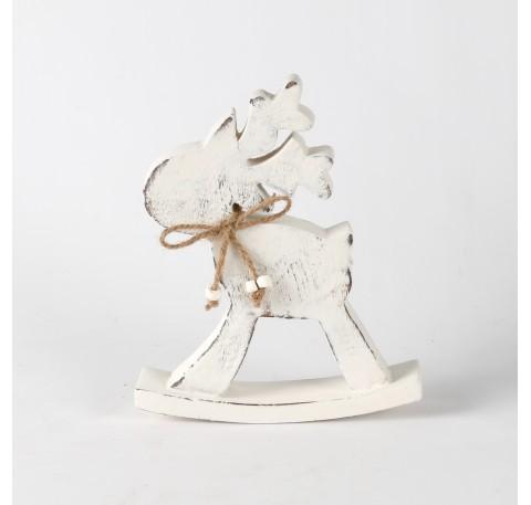 Caribou sur bascule en bois blanchi 16x19,5x3,5 cm