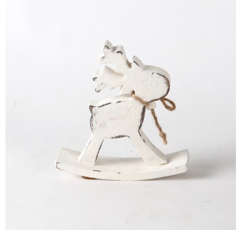 Caribou sur bascule en bois blanchi 12x14x2,5 cm