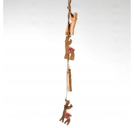 Guirlande de 4 cerfs en bois miel et rouge - Décoration de Noël  - Lecomptoirdesauthentics