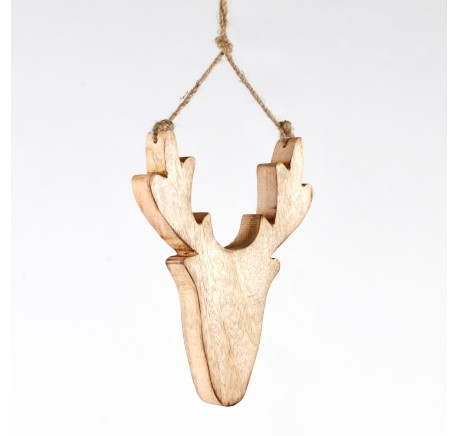 Tête de cerf en bois clair à suspendre Haut. 20 cm - Décoration de Noël  - Lecomptoirdesauthentics