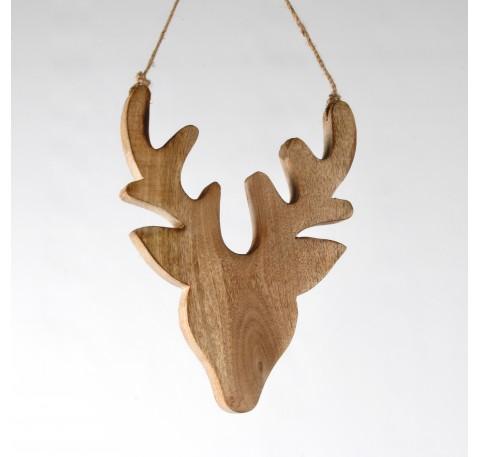Tête de cerf en bois clair à suspendre Haut. 30 cm