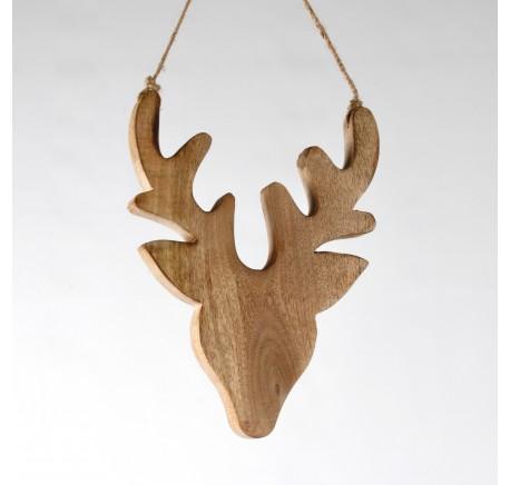Tête de cerf en bois clair à suspendre Haut. 30 cm - Décoration de Noël  - Lecomptoirdesauthentics