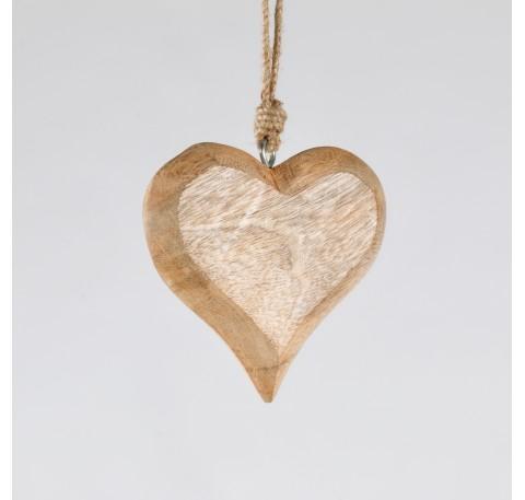 Suspension Coeur en bois miel Haut. 12 cm