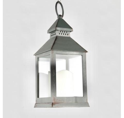 Lanterne en Platique gris vieilli façon métal avec bougie LED