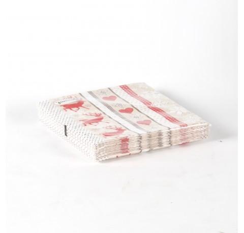 Serviette Papier 3 plis déco cerfs, coeurs et flocons