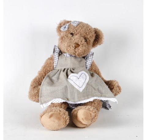Peluche Ours Sylena avec robe tablier Louise Mansen 43 cm