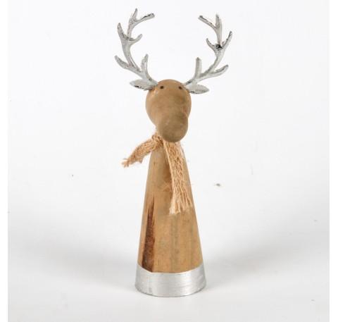 Caribou en bois avec cornes argentées et écharpe Haut. 17 cm