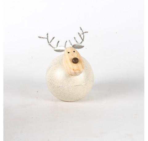 Cerf en métal argenté tête en bois Haut. 8.5 cm