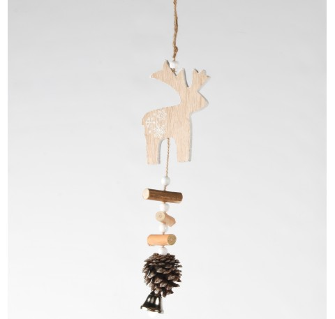 Suspension Cerf en bois naturel Haut. 26 cm