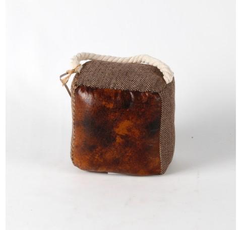 Bloque-Porte brodé simili cuir Haut. 14 cm