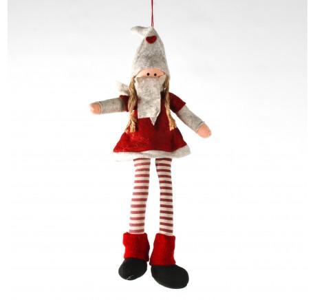 Lutin Fille en feutrine et polyester chapeau beige  39 cm - Décoration de Noël  - Lecomptoirdesauthentics