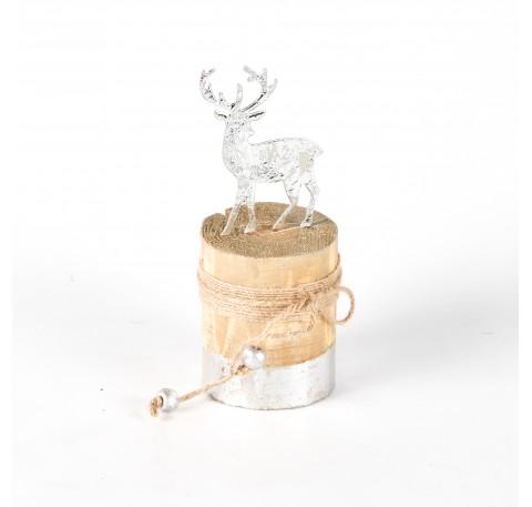 Cerf métal argenté sur socle bois Haut. 14,5 cm