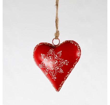 COEUR en métal et corde ROUGE décor fleur blanche 14cm - Décoration de Noël  - Lecomptoirdesauthentics