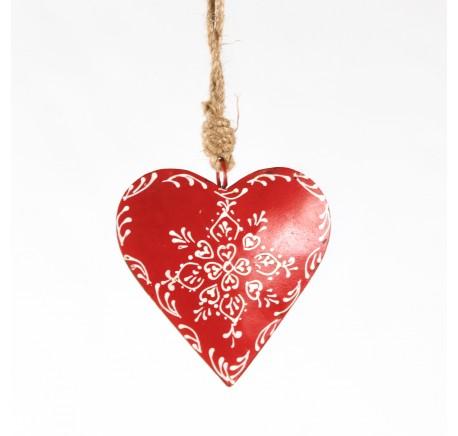 COEUR en métal ROUGE décor fleur blanche 10cm - Décoration de Noël  - Lecomptoirdesauthentics