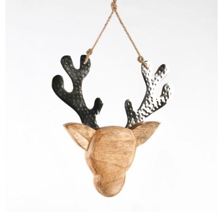 Tête de Caribou en bois cornes métal brillant - Décoration de Noël  - Lecomptoirdesauthentics