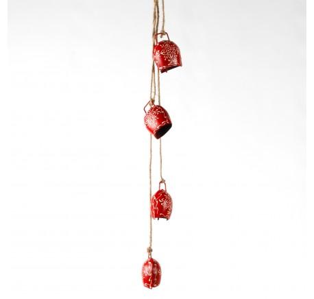 Suspension 4 cloches en métal rouge design blanc 62cm - Décoration de Noël  - Lecomptoirdesauthentics