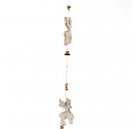 Guirlande bois blanc motif cerf 110 - Décoration de Noël  - Lecomptoirdesauthentics