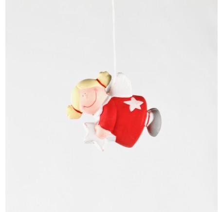 Ange en céramique 8 cm rouge à suspendre - Décoration de Noël  - Lecomptoirdesauthentics