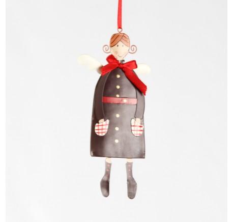 Ange à suspendre en métal Haut. 15 cm - Décoration de Noël  - Lecomptoirdesauthentics