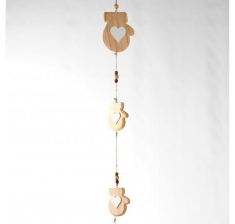 Décoration Moufles bois naturel à suspendre 80cm - Décoration de Noël  - Lecomptoirdesauthentics