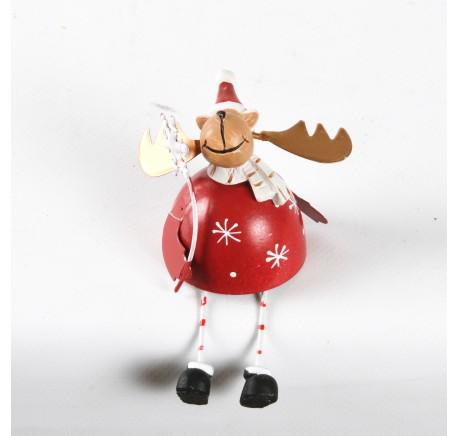 Cerf en métal rouge Haut.12cm - Décoration de Noël  - Lecomptoirdesauthentics