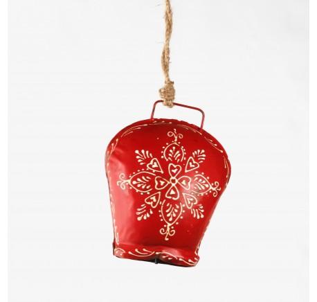 Cloche métal rouge décor fleur blanche Haut. 15 cm - Décoration de Noël  - Lecomptoirdesauthentics