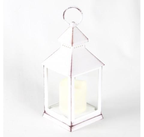 Lanterne en Platique blanc vieilli façon métal avec bougie LED