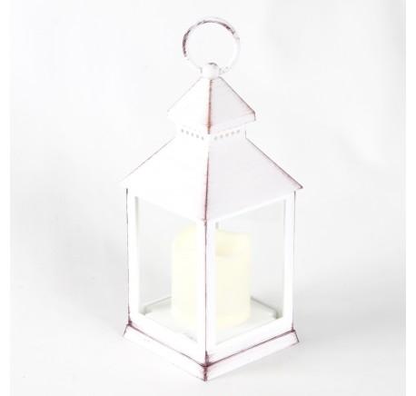 Lanterne en Plastique blanc vieilli façon métal avec bougie LED - Lanterne - Lecomptoirdesauthentics