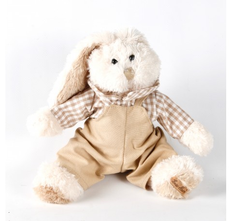Peluche Lapin Roger avec salopette Louise Mansen 22 cm